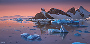 Icebergs Art - Afterglow Lemarie Channel Antarctica by Cliff Wassmann