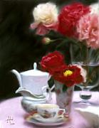Reds Mixed Media Posters - Afternnon Tea With Peonies Poster by Stephen Lucas