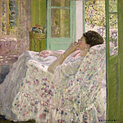 Flowery Framed Prints - Afternoon - Yellow Room Framed Print by Frederick Carl Frieseke