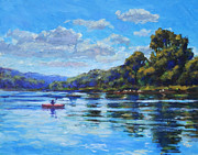 Kayak Paintings - Afternoon at Leos Landing by Michael Camp