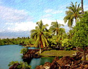 Palm Trees Prints - Afternoon at Mauna Lani Hawaii Print by Kurt Van Wagner