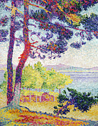 Dot Painting Framed Prints - Afternoon at Pardigon Framed Print by Henri-Edmond Cross