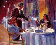 Tables Posters - Afternoon At The Dorchester Poster by David Lloyd Glover