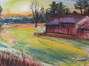 Barns Mixed Media Acrylic Prints - Afternoon Barns Acrylic Print by Sid Solomon