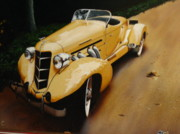 Antique Automobiles Painting Framed Prints - Afternoon Drive Framed Print by Kirby Crow