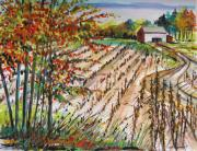 Autumn Drawings Prints - Afternoon Fields Print by John  Williams