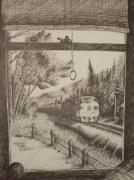 Pen And Ink Drawing Prints - Afternoon Freight Train  Print by Chris Shepherd