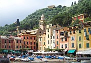 Portofino Italy Boats Posters - Afternoon in Portofino Poster by Marilyn Dunlap