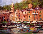 Bell Tower Paintings - Afternoon in Portofino by R W Goetting
