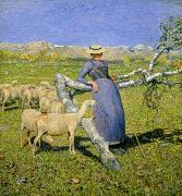 Shepherdess Metal Prints - Afternoon in the Alps Metal Print by Giovanni Segantini
