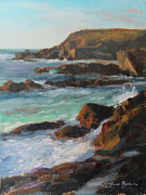 Pacific Ocean Painting Posters - Afternoon Light Point Lobos Poster by Anna Bain