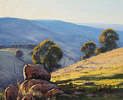 Signed . Nature Paintings - Afternoon Light Turon Hills by Graham Gercken