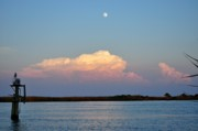 Apalachicola Bay Posters - Afternoon Moon - Apalachicola Bay Poster by Mark  Stratton