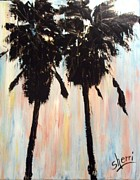 Pallet Knife Framed Prints - Afternoon Palms Framed Print by Sherri Wimberly