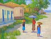 Honduras Painting Framed Prints - Afternoon Stroll Framed Print by Bunny Oliver
