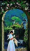 Rose Garden Painting Framed Prints - Afternoon Stroll Framed Print by Jean Hildebrant