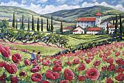 Tuscan Scene Framed Prints - Afternoon Stroll Framed Print by Richard T Pranke