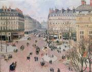 Parisian Street Scene Framed Prints - Afternoon Sun in Winter Framed Print by Camille Pissarro