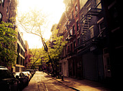 Nyc Fire Escapes Framed Prints - Afternoon Sunlight on a New York City Street Framed Print by Vivienne Gucwa