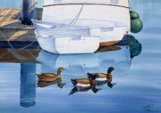 Mallards Paintings - Afternoon Swim by John YATO