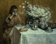Silver Tea Pot Paintings - Afternoon Tea by Isidor Verheyden
