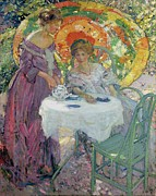 Purple Dress Posters - Afternoon TEA Poster by Richard Edward Miller