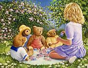Little Girl Painting Posters - Afternoon Tea Poster by Susan Rinehart