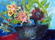 Teapot Painting Originals - Afternoon Tea Two by Rebecca Worters
