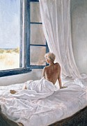 Nudes Tapestries Textiles Prints - Afternoon View Print by John Worthington