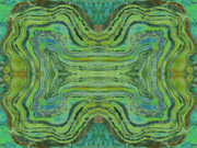 Turquoise Tapestries - Textiles Prints - Agate Inspiration - 24 B  Print by Sue Duda