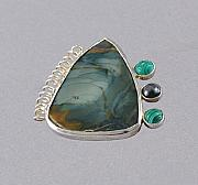 Sterling Silver Jewelry - Agate Pin or Pendant by Barbara Otterson