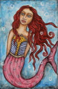 Modern Folk Art Paintings - Agatha by Rain Ririn