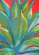 Cactus Pastels - Agave on Red by Sandra Ortega