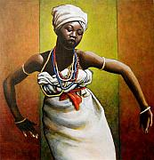White Painting Metal Prints - Agbadza Dancer Metal Print by Carla Nickerson