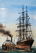 Tall Ship Painting Prints - Age of Steam and Sail Print by James Williamson