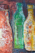 Earthtone Paintings - Aged Bottles by Janice Gelona