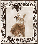 Whiteoak50 Framed Prints - Aged Bunny Framed Print by Eva Thomas