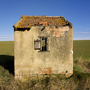 Cabins Photos - Aged hut in Auvergne. France by Bernard Jaubert