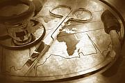 Antique Map Originals - Aged Medical Tools by Phill Petrovic
