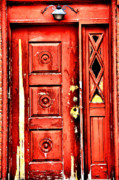 Red Doors Prints - Aged n Red Print by Emily Stauring