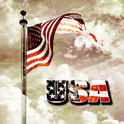 Antique Digital Art Originals - Aged USA flag on pole by Phill Petrovic