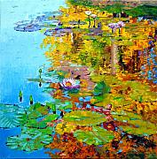 Lily Pond Originals - Aglow With Fall by John Lautermilch