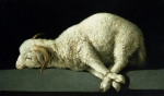 Animals Tapestries Textiles Posters - Agnus Dei Poster by Francisco de Zurbaran