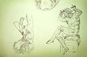 Sepia Ink Drawings - Agony and Atlas Sketch of Him Throwing the World onto Her as he Transforms Life Burden to Freedom by MendyZ M Zimmerman