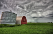 Grain Bin Posters - Agriculture Storage Bins Granaries Poster by Mark Duffy