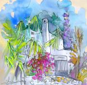 Travel Sketch Prints - Agua Amarga 02 Print by Miki De Goodaboom