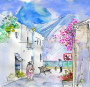 Village By The Sea Drawings Prints - Agua Amarga 06 Print by Miki De Goodaboom