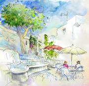Village By The Sea Drawings Prints - Agua Amarga 10 Print by Miki De Goodaboom