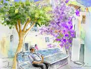 Village By The Sea Drawings Prints - Agua Amarga 11 Print by Miki De Goodaboom