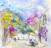 Village By The Sea Drawings Prints - Agua Amarga 12 Print by Miki De Goodaboom